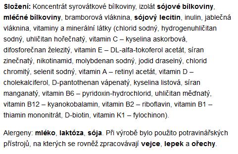 složení proteinového nápoje