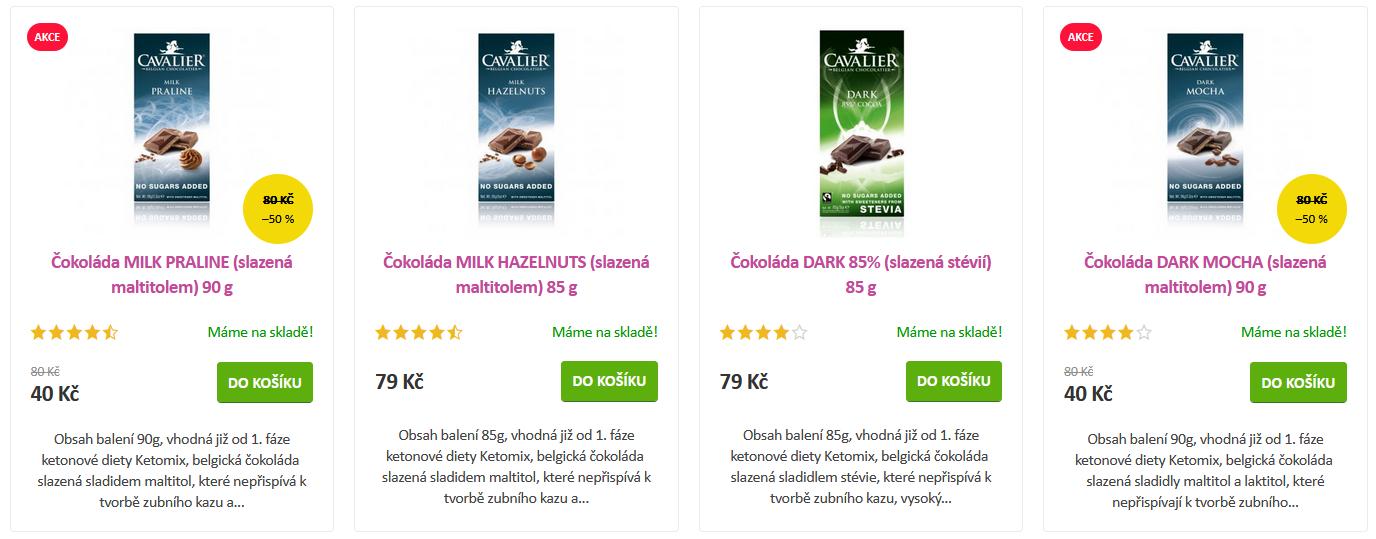 Nabídka proteinovách čokolád